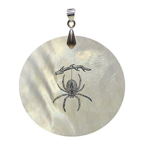 Spider Vintage Look Mother of Pearl Shell Pendant Round