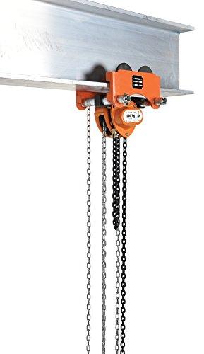 "Vestil LOW-2G Geared Low Headroom Combination Chain Hoist/Trolley, 2000 lbs Capacity, 2-1/2""- 8"" I-Beam Flange"