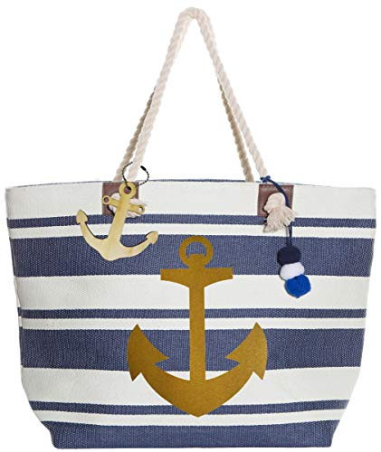 - XL Nautical Striped Straw Beach Bags Tote with Zipper Closure and Rope Handle