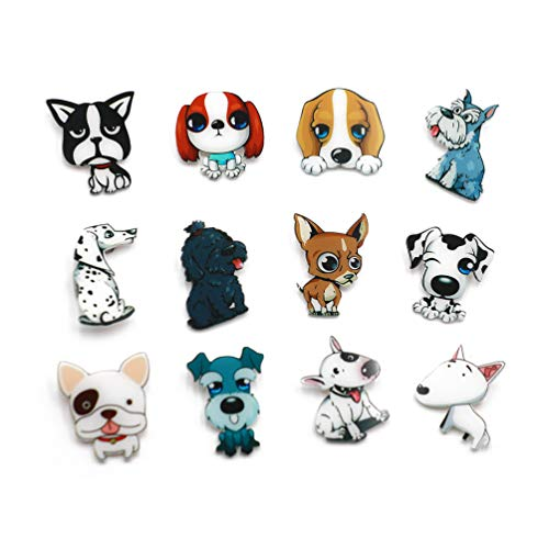 Dog Pin Set - Forch 12 PCS Animals Cartoon Pins Cat Dog Acrylic Brooch Women Girls Cute Badges Clothes Bags Backpacks Hat Jacket (AB12-08)