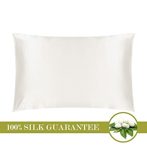 Mommesilk Mulberry Silk Pillowcase for Hair and Skin with Hidden Zipper, Ivory Queen 20x30 -