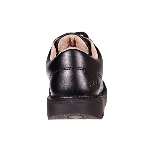 Kickers Kick Lo Leather Junior Girls School Shoe Boot Black