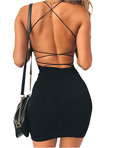 just quella Women Sexy Bodycon Party Dresses Backless Spaghetti Straps Clubwear Mini Dress (M, Black) (Fitted Dresses Sexy)