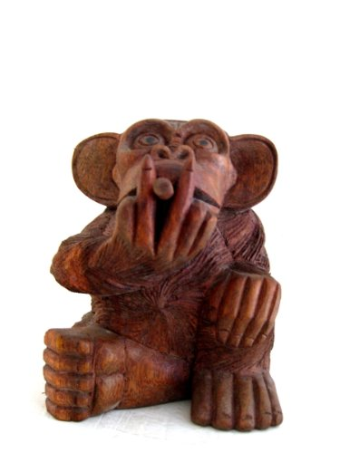 Monkey Statue Wood Monkey Smoking No Smoking Statue - OMA BRAND