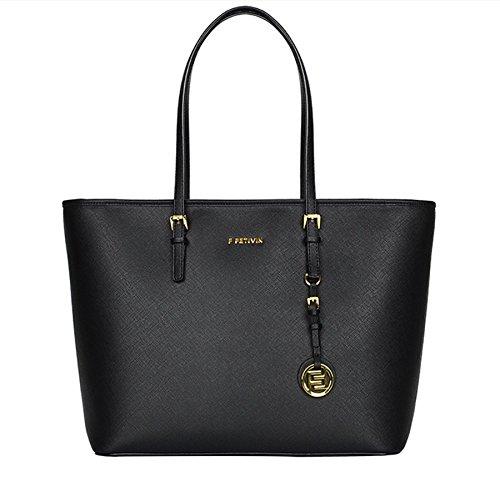 [2017 New] Women's Saffiano Leather Top Zip Tote Bag Handbags Handle Shoulder Bag (M Black) - Zip Top Fashion Tote