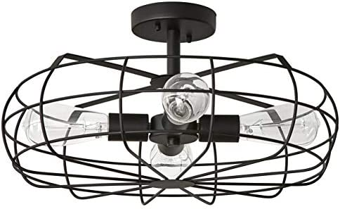 Stone Beam Vintage Industrial Cage Flush Mount Ceiling Chandelier Fixture With 4 Light Bulbs – 18.5 x 18.5 x 9.3 Inches, Matte Black