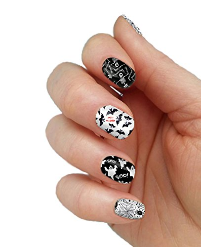 Halloween Spiders Ghosts Bats Full Nail Decals Nail Wraps Set of 20 -