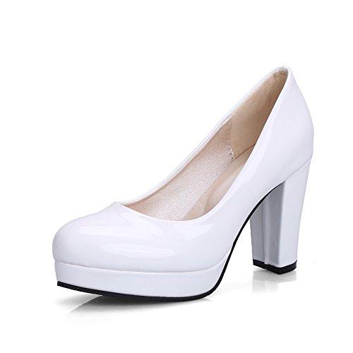 Balamasa Dames Stevige Hakken Platform Laag Uitgesneden Bovenleer Patent-lederen Pumps-schoenen Wit