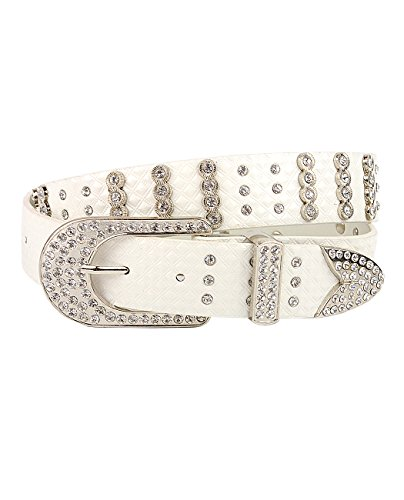 Women's Faux Patent Leather Crocodile Design Belt w/ Rhinestones DM300, White, XL ()