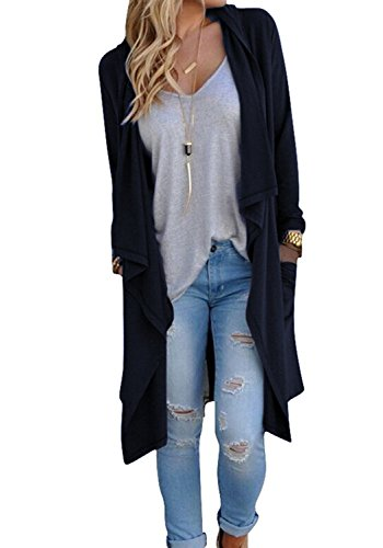Halife Womens Long Sleeve Open Front Long Cardigan Coat with Pockets Navy Blue M (Long Coat Sweater)