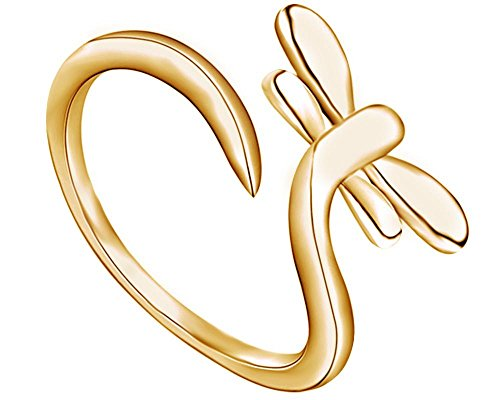 (Wishrocks 14K Yellow Gold Over Sterling Silver Dragonfly Adjustable Size Ring)