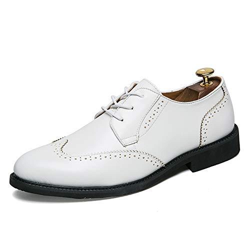 Xujw-shoes, 2018 Scarpe Stringate Basse Moda casual da uomo PU in pelle anti-scivolo traspirante Scarpe Oxford Business brogue (Color : Nero, Dimensione : 38 EU) Bianca
