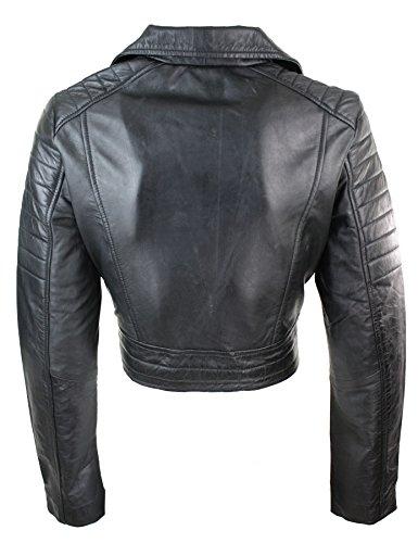 Corta Retro Nero Biker e Pelle da in Stile Vera Donna Vintage Ragazza Morbida Giacca BdqAwfxB