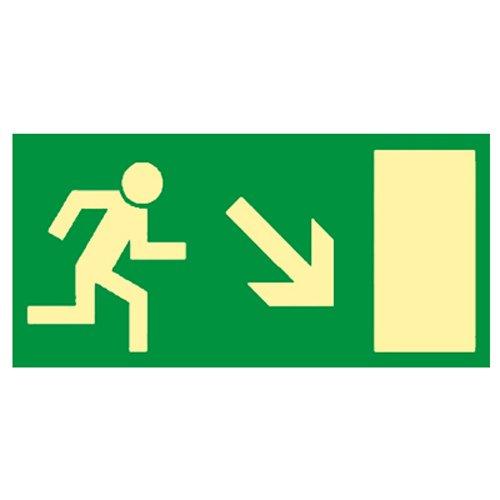 Rettungsweg Schild rechts abwärts - Fluchtweg - Notausgang - Rettungszeichen Kunststoff nachleuchtend selbstklebend