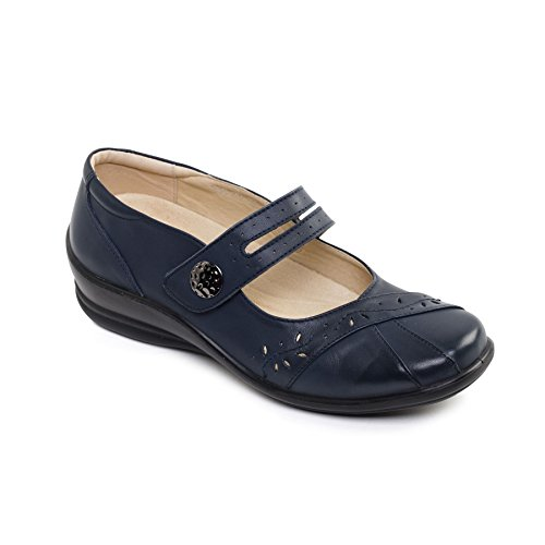 shoehorn 'Sunshine' Navy Fit System E Shoe UK Dual Wide Fit EE Free Leather Footcare Padders Women's Zpq6tt