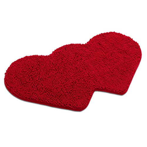 (MAYSHINE Non-Slip Bathroom Rug Double Love Shaped Shag Shower Mat Machine-Washable Bath Mats Lovely Heart with Water Absorbent Soft Microfibers (20.5X35 inch Red))