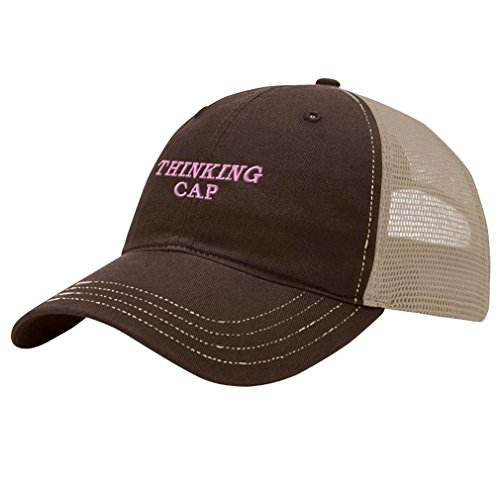 Speedy Pros Pink Thinking Cap Embroidery Design Richardson Cotton Front and Mesh Back Cap Brown/Khaki -