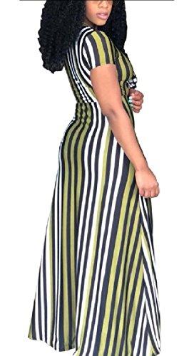 Striscia Donna Maxi collo Anteriore Jaycargogo Vestito V Lungo Sportiva Cravatta Verde xdq8tPX8