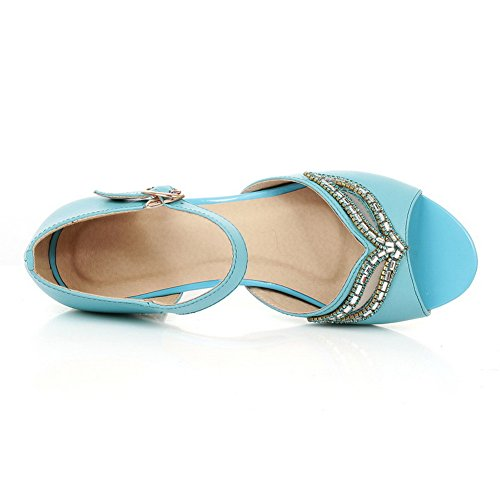 BalaMasa Ladies Glass Diamond Buckle Peep-Toe Cow Leather Sandals Blue y6GJEb