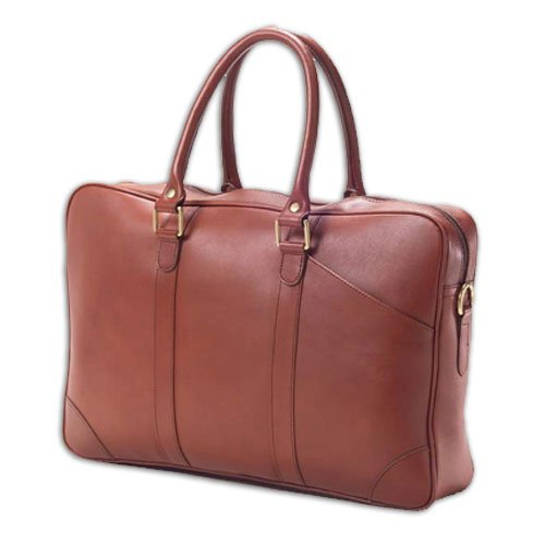 (Clava Leather Slim Top Handle Briefcase Cognac)
