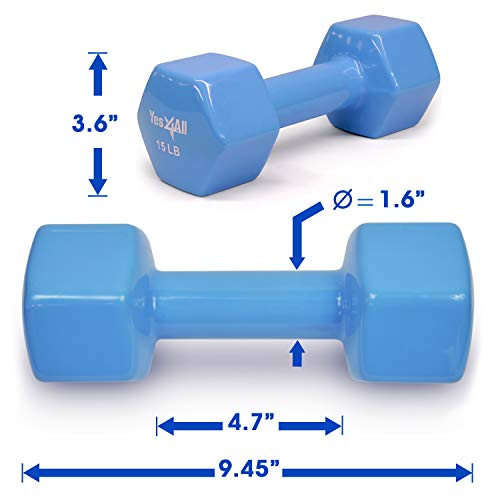 Yes4All Color-Coded Deluxe Vinyl Coated Dumbbell Weights Pair – 2 to 15lbs
