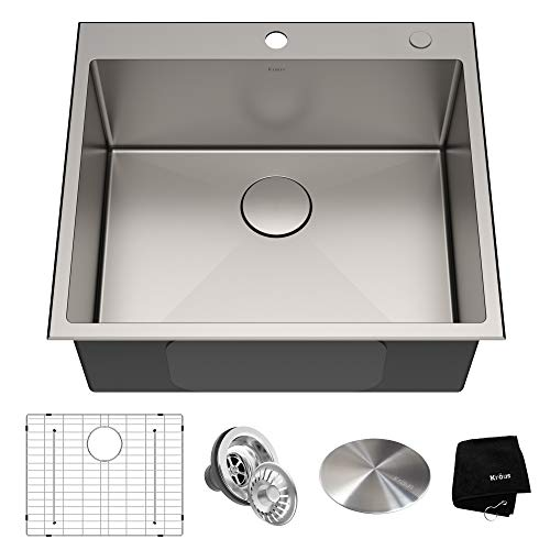 - Kraus KHT301-25 Standart PRO Kitchen Stainless Steel Sink 25 Inch Single Bowl