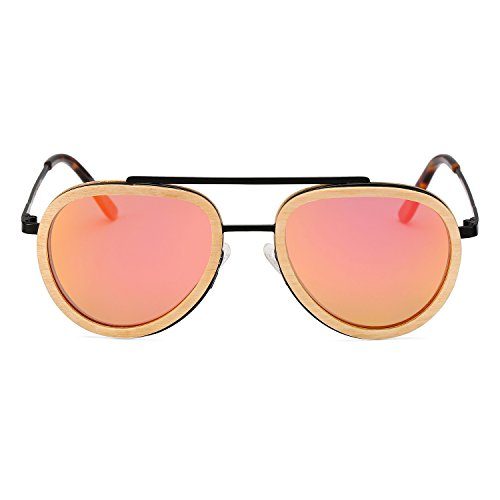 Aviator Sunglasses Wood Polarized for Men and Women, Metal Aviators Style Wooden Glasses Frame Shades Eyewear (Black Frame Pink Lens)