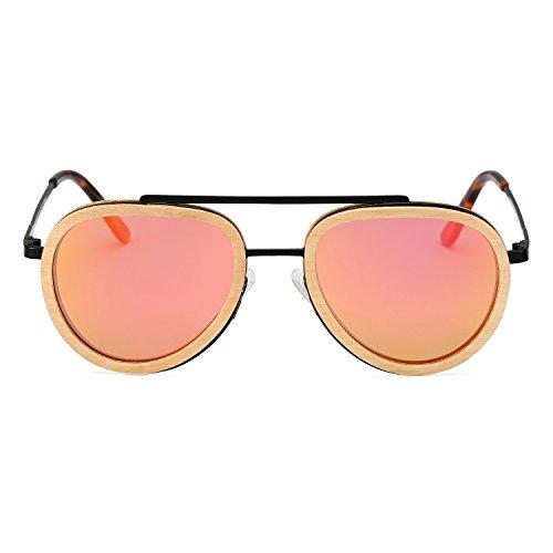 (Aviator Sunglasses Wood Polarized for Men and Women, Metal Aviators Style Wooden Glasses Frame Shades Eyewear (Black Frame Pink Lens) )