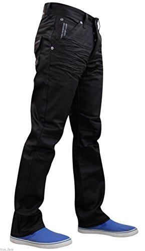 28 A Gamba Taglio Regolare Uomo Girovita Enzo Jeans Denim Ez 329 coated Dritta 48 Black Custodia wRvRzg