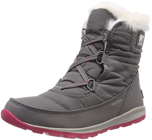 Sneaker Boot - SOREL Women's Whitney Short Lace Snow Boot, Quarry, Bright Rose, 9 M US