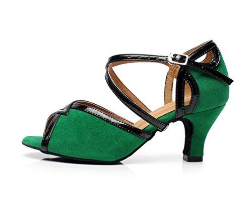Kevin Fashion K6130 Womens Mid Heel Suede Ballroom Latin Dance Shoes Green oFCZo0UGmu