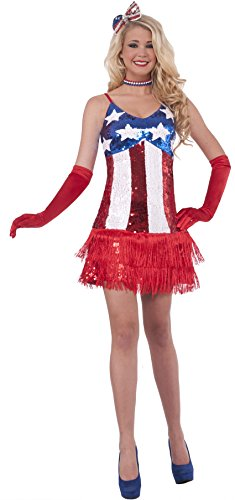 Forum Novelties Women's Patriotic Sequin Sparkle Costume Dress, Red/White/Blue, (Adult Miss Independence Costumes)