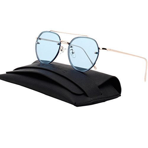 VIVIENFANG Rimless Colored Flat Lens Sunglasses Double Bridge Aviator Shades 87067A - Blue Sunglasses Aviator Tinted