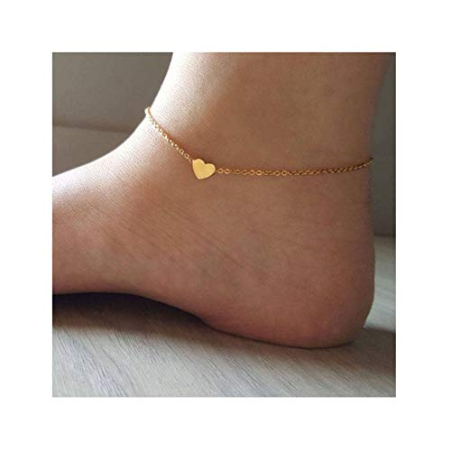 DeScount Gold Tiny Heart Anklet,Delicate Heart Ankle Bracelet,Simple Minimalist Dainty Love Little Heart Anklets for Girls Women - Gold Heart 14k Anklet