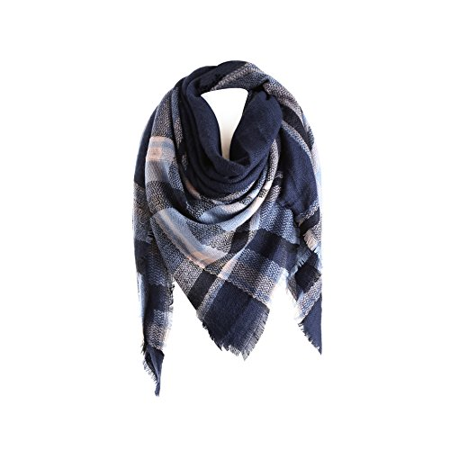 (Surblue Warm Stylish Elegant British Style Color Blocking Plaid Shawl Scarf Blanket, Navy)