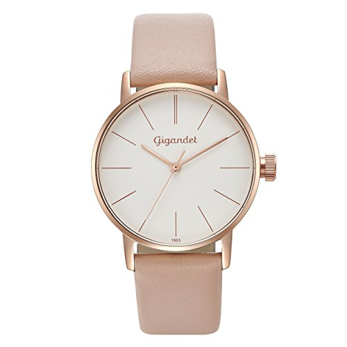 Gigandet Women's Quartz Watch Minimalism Analog Leather Strap Rose Gold White G43-014