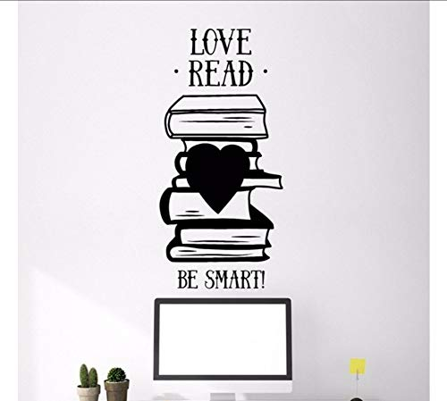LSFHB 30X64Cm Books Quote Wall Sticker Library Book Shop Reading Room Stickers Removable Vinyl Wall Decals Kids Room Bedroom