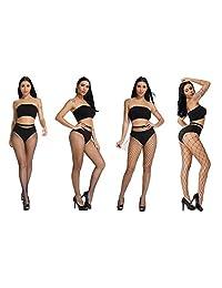 GOODLINESS Fishnet Stockings Tights Ladies Thin Black Women Cross Mesh