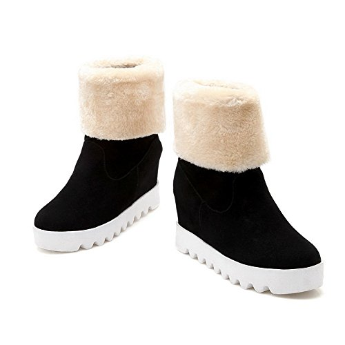 Women's WeiPoot Heels Round Frosted Closed Solid Black Toe Boots Pull High On dSSUrqZ