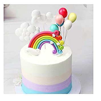 Lioong Clouds Rainbow And Balloons Cake Toppers Set Kids Baby Shower