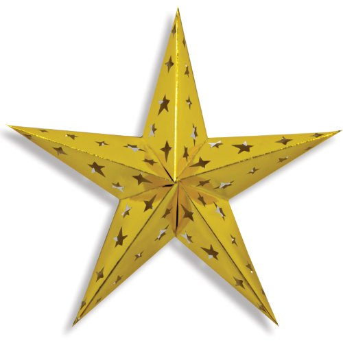Beistle 1-Pack Dimensional Foil Star, 24-Inch, Gold -