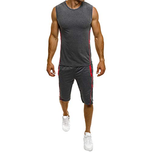 (POQOQ Tank Top Shirt for Weight Lost,Waist Trainer Vest Slim Belt Workout Fitness-Breathable Hot Sauna Sweat Suits XL Dark Gray)