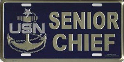 Navy Senior Chief License Plate - Mitchell Proffitt Navy Senior Chief Metal License Plate
