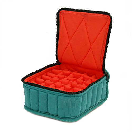 "30-Bottle Essential Oil Carrying Cases hold 5ml, 10ml and 15ml bottles - Teal with Coral interior - 3"" high"
