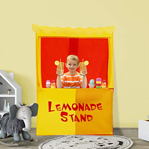 Alvantor Lemonade Stand Puppet Show Theater Pretend Playhouse Play Tent Kids on Stage Doorway Table Top Sets for Toddlers Curtain Fordable Rods Children Dramatic Furniture, 28