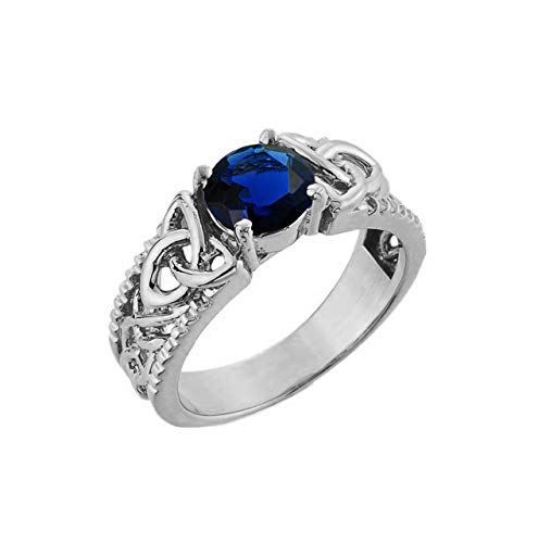 Fine Sterling Silver Personalized September Birthstone Celtic Knot Solitaire Ring (Size 8.75)