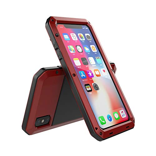 (iPhone Xs Max Case, TCM Aluminum Metal Case - Water Resistant Shockproof Heavy Duty Tempered Glass Screen Protector Dual Layer Protective Case for Apple iPhone Xs Max-Red)