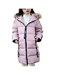 OCHENTA Girl's Jacket with Faux Fur Collar Hooded Puffer Winter Coat Age of 4-9