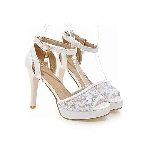 Charm Foot Womens Elegant Mesh Peep Toe High Heeled Platform Sandals White zUIX1QK