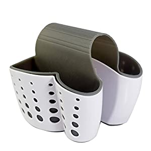 YJYdada New Sponge Holder Sink Caddy Soap Holder For Kitchen Plastic Storage Baskets (White)